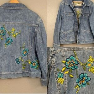 J. Jill Limited Edition Embroidered Jean Jacket